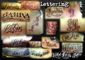 Lettering collage by WildThingsTattoo
