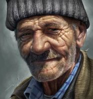 An old man  - drawing  + digital paint by JUDYAR