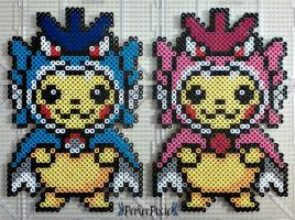 Pikachu Wearing Gyarados Hoodies by PerlerPixie