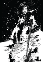 Jon Snow and Ghost from Game of Thrones by itsjustadesiguy