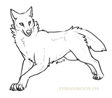 Newer Free Wolf Lineart by FerianMoon