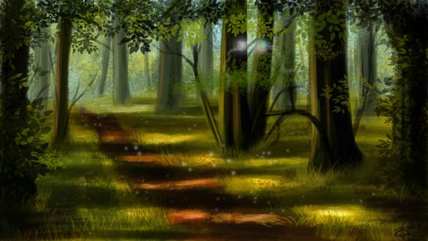 forest speed painting by thielusia