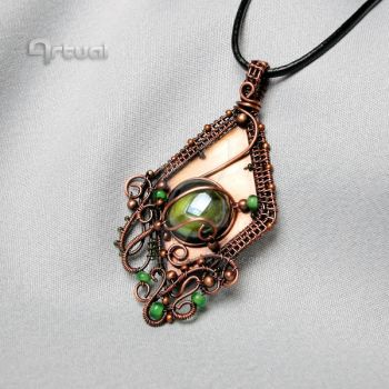 Wire wrapped pendant with green glass cabochon by artual