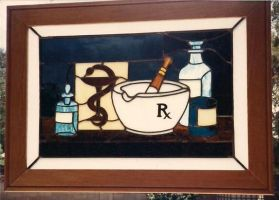 US Pharmacy Stamp in Glass by JimSTARDUST