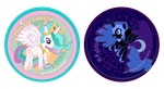 Celestia and Nightmare Moon Buttons by Soseiru