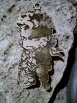Chibi Solid Snake Wood KeyRing by WoodBoxEdition