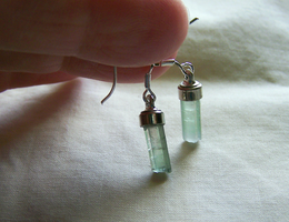 Bicolor Tourmaline Crystal and Sterling Earrings by mymysticgems