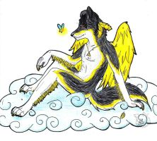 Angel in the clouds by Wolf-mutt