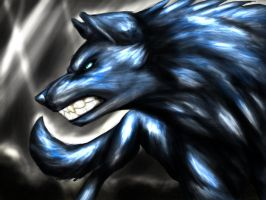 Shiny Blue angry wolf by TheTyro