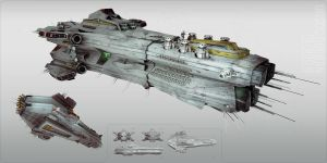 Carrier Concept Spaceship by bradwright