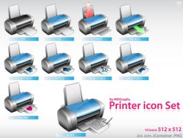 Printer icon set by MDGraphs