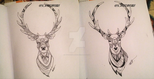 COMMISSIONED STAG TATTOOS by psychosisblazee