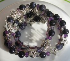 Amethyst Iolite Blue Goldstone Coil Bracelets 4 by Windthin