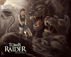Lara VS Cerberus by NightWish666
