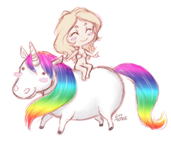 Riding a unicorn sketch by LuuPetitek