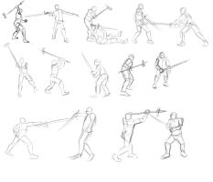 pole hammer vs sword poses by TimothyWilson