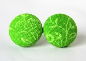 Green stud earrings leaf by KooKooCraft