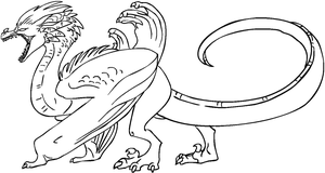 Free dragon lineart 3 [MS Paint friendly] by xSitax