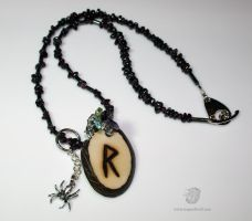 Raido Rune Spider Tagua Pendant by leopardwolf
