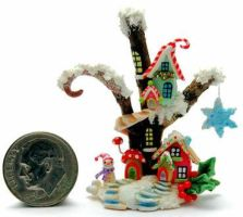 CHRISTMAS FAIRY HOUSE COTTAGE by WEE-OOAK-MINIATURES