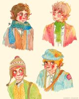 Four Hobbits by merrinou
