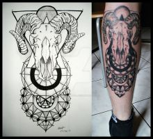 goat and mandalas tattoo by LukrecjaFatal