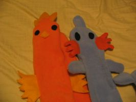 Torchic and Mudkip Scarves by Flemmliplush