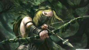 Fantasy-art-artwork-green-arrow-archer-girl-long-c by KeiraTheVampire