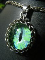 Green And Ice Blue Eye by BacktoEarthCreations