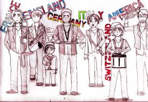 Hetalia APH Marching Band by stcardboard101
