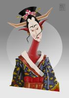 demon geisha chick by muzski