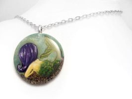Purple Haired Mermaid - Pendant Necklace by sobeyondthis