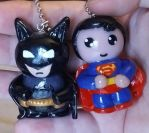 Batman/Superman chibi charms/ornaments by ShadyDarkGirl