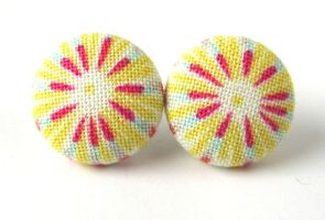 Bright stud earrings stripes blue pink yellow by KooKooCraft
