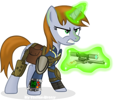 Little Pip in Armored stable barding. by Vector-Brony