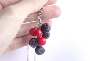 Blueberry Necklaces Red Berries Fruit Handmade by LaNostalgie05
