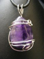 free form amethyst  drop in silver by BacktoEarthCreations