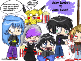 Adam Lambert VS Justin Bieber by Violent-Rainbow