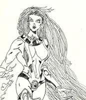 Classic Teen Titans StarFire Ink Sketch by lovefistfury