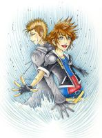 Sora and Demyx: Dance water by Rosaka-Chan