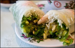 Spring roll, sliced by aheria