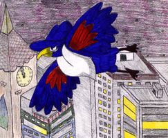 Honchkrow Over The City by zealthebat
