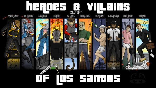 Heroes and Villains of Los Santos by An0nym0useArt