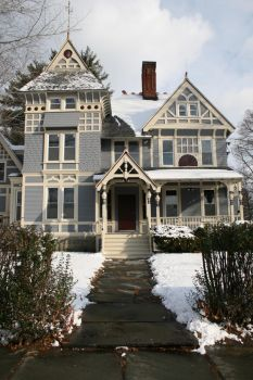 Blue-Yellow Victorian Home by Moon-WillowStock