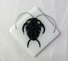 Fused Glass Trilobite Tiles with metal inclusions by trilobiteglassworks