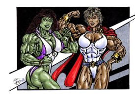 SheHulk n Powergirl by feenix501