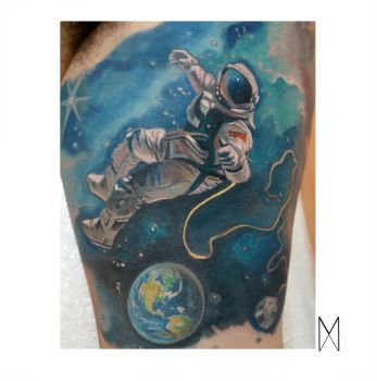 Astronaut tattoo by EnyaMahuta