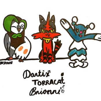 Dartrix Torracat and Brionne by gravityuniverse