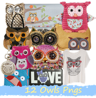 12 Owls Pngs SET_1 by JEricaM
