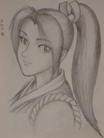 Mai Shiranui - Pencil Portrait by shadowpencil